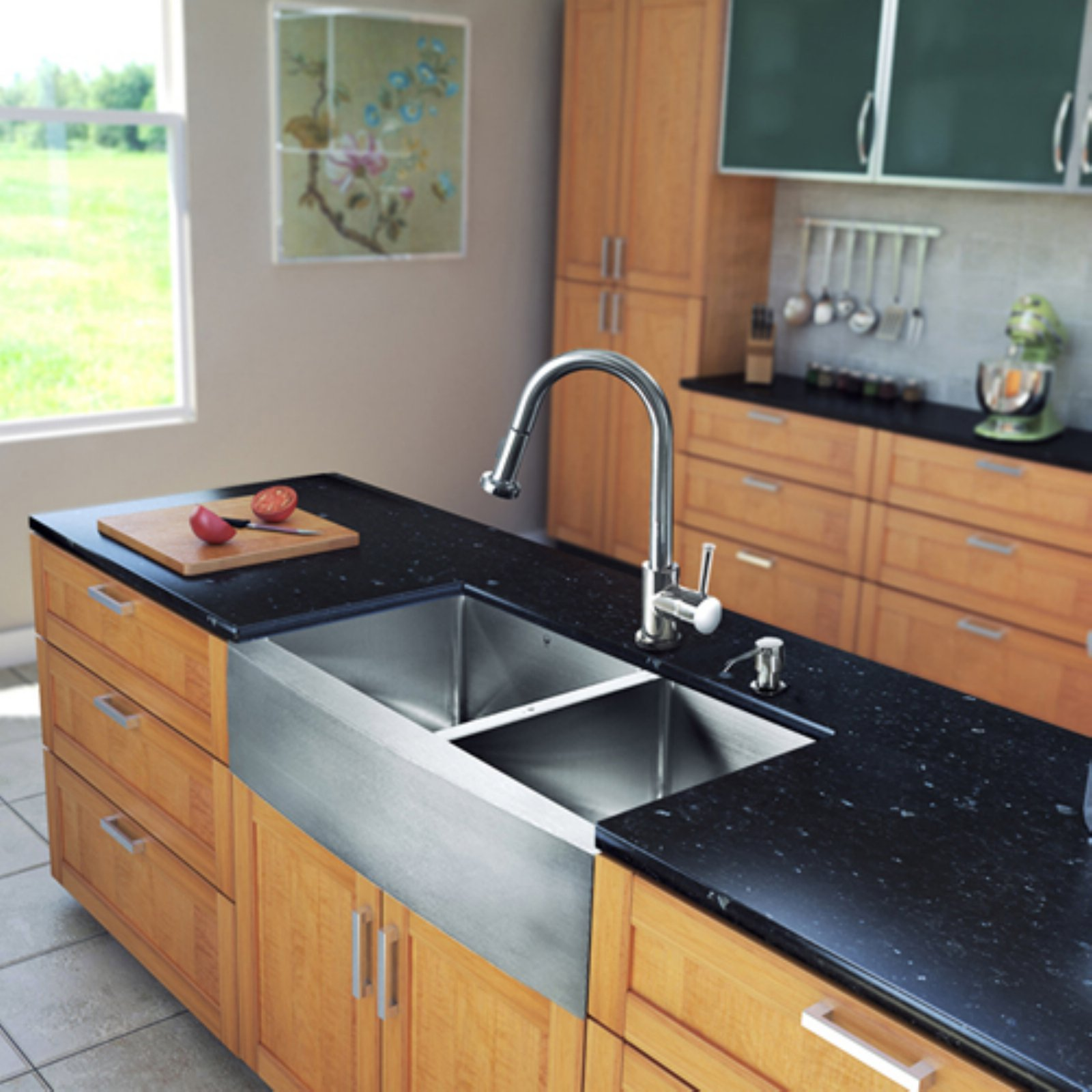 "Vigo All-in-One 33"" Farmhouse Stainless Steel Double Bowl Kitchen Sink and Chrome Faucet Set"