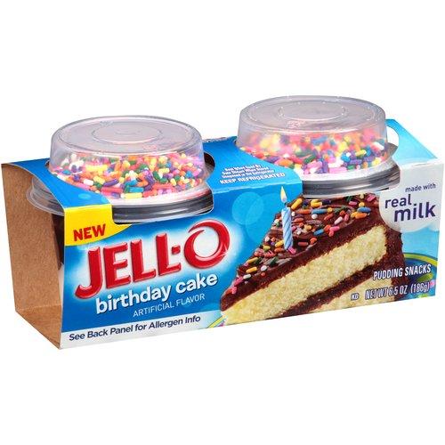 JELL-O Birthday Cake Pudding Snacks, 2 count, 6., 5 oz
