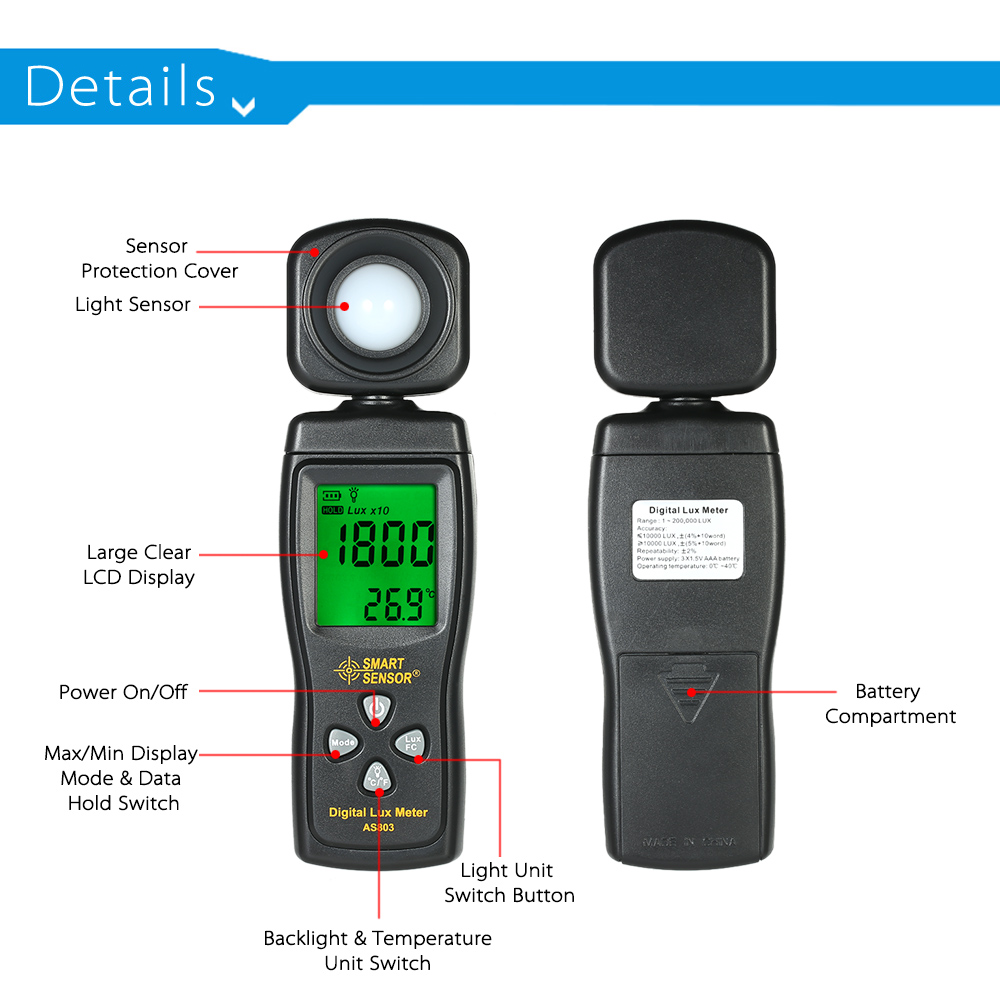 Digital Illuminance Light Meter,Measure Lights 1-200,000 Lux with LCD Display Light Meter Environmental Testing Illuminometer for Plants LED Lights Indoor Outdoor Light Tester