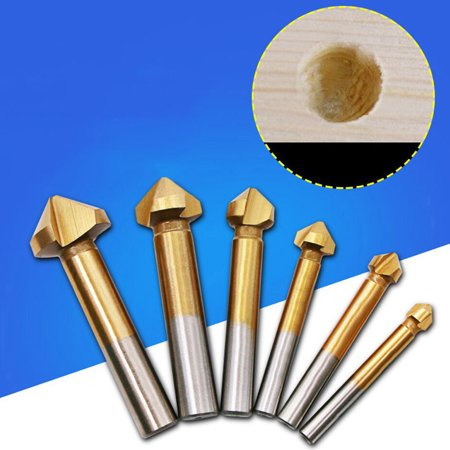 3 Flute Countersink (6 Pcs/Set 3 Flute HSS Hard Edge Chamfer Metals Cutter Drill Bit Countersink )