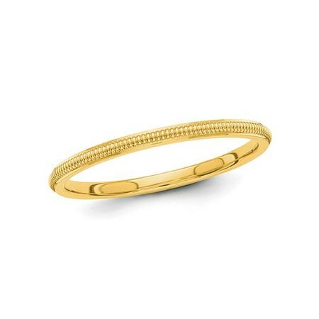 Gold Milgrain Designer Band (Ladies 14K Yellow Gold 2mm Stackable Milgrain Wedding Band)