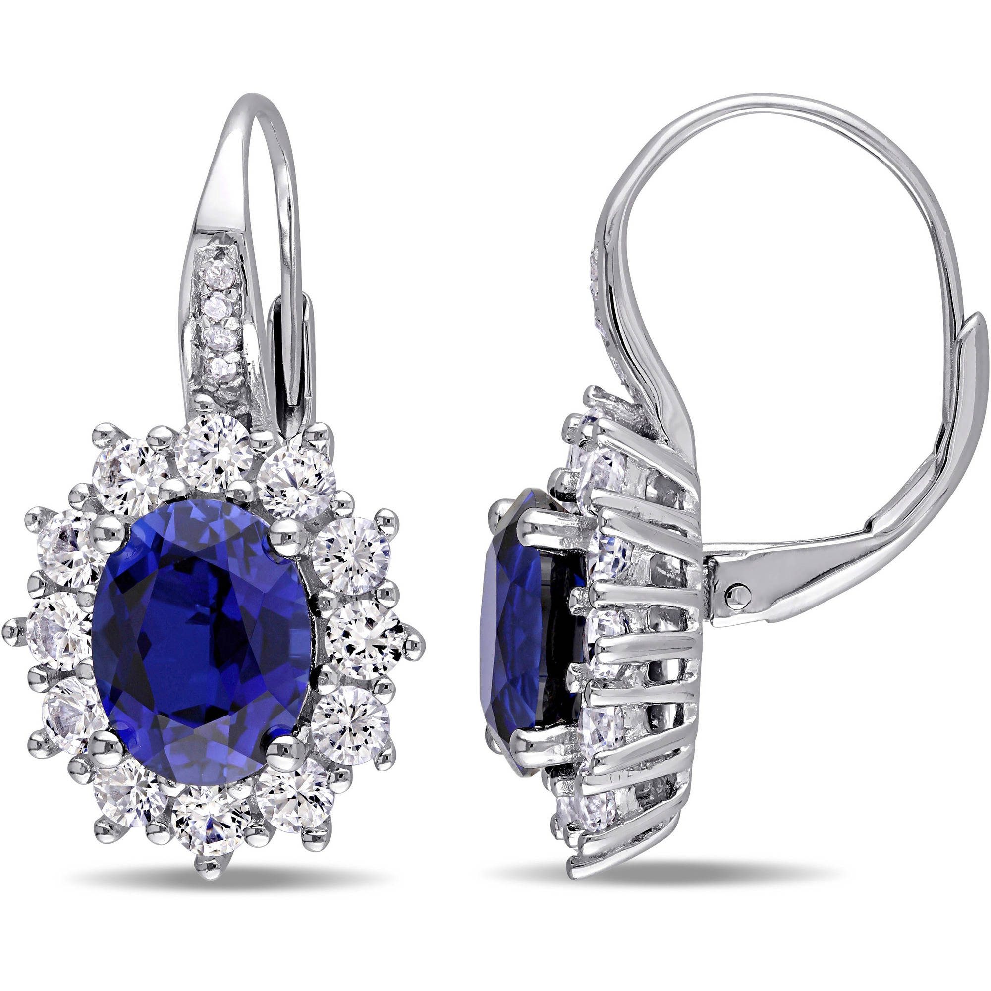 FASHIONS FOREVER® 925 Sterling Silver Royal Crystal Drop Leverback Earrings