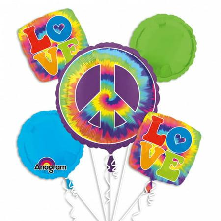 Tie-Dye 'Feeling Groovy' Foil Mylar Balloon Bouquet (5pc) (Tie Dye Balloons)