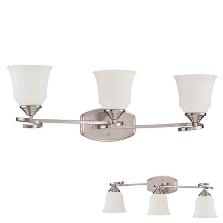 Satin Nickel Vanity Light 3 Bulb Bath Wall Fixture Curled Base White Glass Globes
