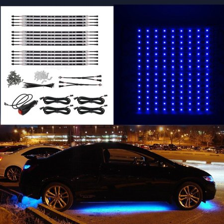 14pc 12 Blue Car Truck Underglow Under Body Neon Glow Led Light Strip Bar Kit