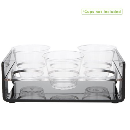 Mind Reader 6 Slot Cup Holder Tray with Cutout Handles, Cup Holder Display for Kitchenware, Acrylic Holder, Black (Acrylic Cup Holder)