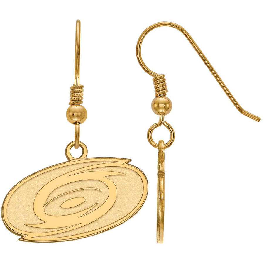 LogoArt NHL Carolina Hurricanes 14kt Gold-Plated Sterling Silver Small Dangle Earrings
