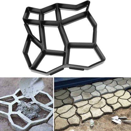 Diy Path Maker Mold, Garden Concrete Paving Stepping Pathmate Stone Mold Walk Maker, Irregular Shape 9 Grid 43 X 43 X 4Cm For Garden Lawn Patio Walkway ()