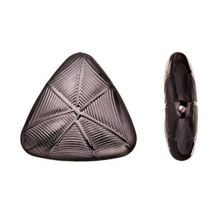 Acrylic Beads/ Finding Piece, Puffed Triangular With Spider Web Pattern, Gun Black-Finished, 38x36mm Sold per pkg of 6pcs (Spider Web Gun)