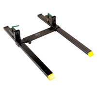 Titan Attachments 60 in Clamp on Pallet Forks Heavy Duty with Adjustable Stabilizer Bar for Loader Buckets, Skid Steer Buckets Easy to Install