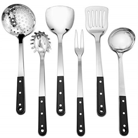 Stainless Steel Kitchen Utensil Set, PandP Chef 6 Piece Kitchen Cooking  Utensils for Cooking and Serving Strainer Spoon, Work Sp