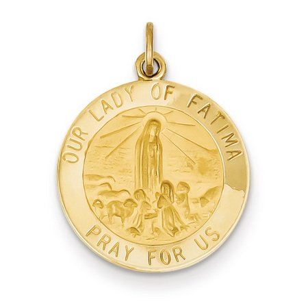 14k Yellow Gold Our Lady of Fatima Medal Pendant