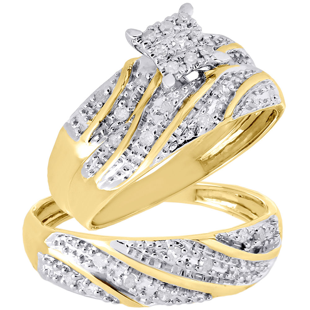 10K Yellow Gold Diamond Trio Set Matching Engagement Ring Wedding Band .27  Ct   Walmart.com