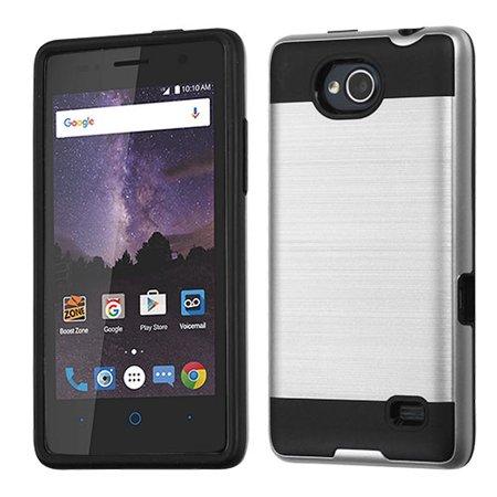 ZTE Tempo N9131, ZTE Majesty Pro LTE Z799VL, ZTE Majesty Pro Plus - Phone Case Shockproof Hybrid Rubber Rugged Case Cover Brushed - SILVER