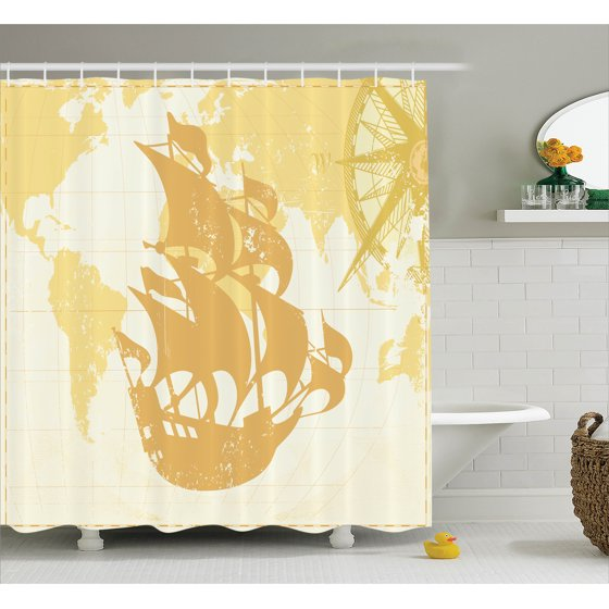 Old World Bathroom Accessories: Nautical Decor Shower Curtain, Vintage Graphic With Old