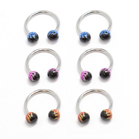 6pcs Flame Bead Multi-functional Lip/Nose/Nipple/Eyebrown Captive Hoop Ring Barbell Tragus Cartilage Stud Earrings 16G Surgical Steel Jewelry