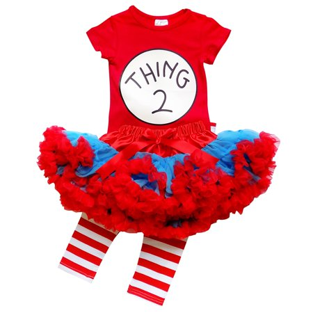 So Sydney Toddler or Girl Deluxe Thing 1 or 2 Tutu 3 Pc Outfit Costume - Top, Pants, Tutu Skirt  Pettiskirt (Cat In The Hat Tutu Costume)
