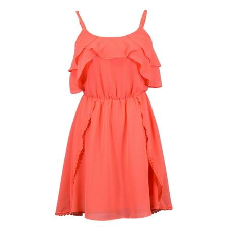 En Creme Darling Flowy Butterfly Ruffle Neckline Crochet Dot Hem Coral Dress Crochet Neckline Dress