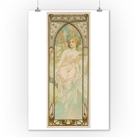 Times of Day - Morning Vintage Poster (artist: Mucha, Alphonse) France c. 1899 (9x12 Art Print, Wall Decor Travel Poster) (Mucha Vintage Poster)
