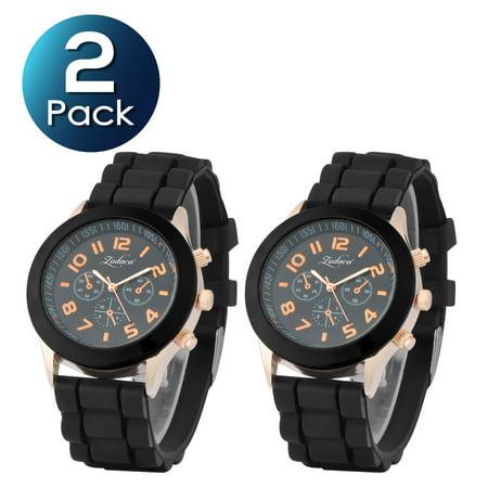 2 Pack Zodaca Black Unisex Men Women Silicone Jelly Quartz Analog Sports Wrist Watch New