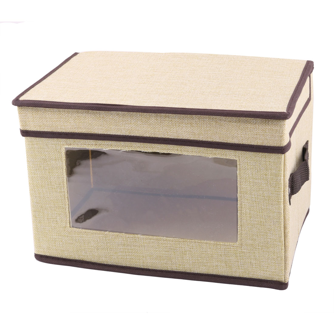 Home 38 x 25 x 25cm Beige Linen Foldable Clothing Quilt Holder Case Storage Box
