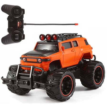 RC Monster Truck Toy Remote Control RTR Electric Vehicle Off Road High Speed Race Car 1:20 Scale Radio Controlled Orange Color (Monster Truck Toys)