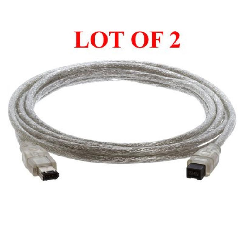 Cmple - 2 Pack IEEE-1394, 9P / 6P, Firewire 800 to Firewire 400 Cable, 10 ft – Clear Color