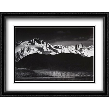 Adams Art Print - Winter Sunrise 2x Matted 34x28 Large Black Ornate Framed Art Print by Ansel Adams