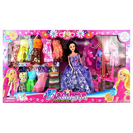 Madilynn Fashion Children's Kid's Toy Doll Playset w/ 16 Different Dress Outfits, Princess Doll, Accessories](Deadpool Different Outfits)