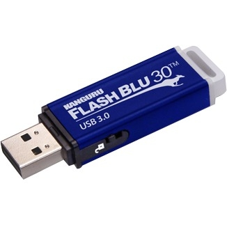 Kanguru FlashBlu30 with Physical Write Protect Switch SuperSpeed USB3.0 Flash Drive - 8 GB - Write Protection Switch, Shock Resistant, ReadyBoost, TAA Compliant