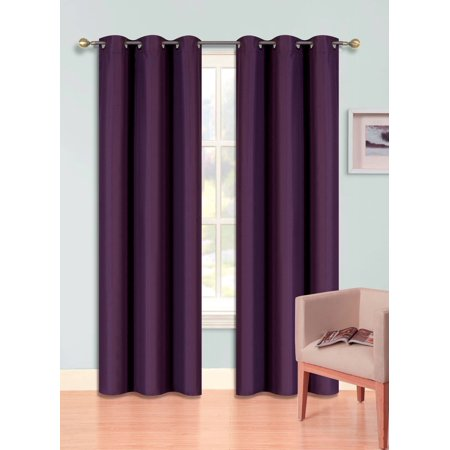 (SSS) 2-PC Purple Solid Blackout Room Darkening Panel Curtain Set, Two (2) Window Treatments of 37
