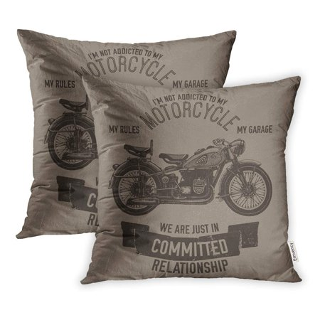 ARHOME Vintage Hand Drawn Motorcycle Quote Biker Garage Ink Lettering Logotype Old Parts Pillowcase Cushion Cover 20x20 inch, Set of 2