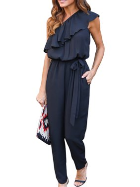 One Shoulder Women Solid One Piece Casual Jumpsuit