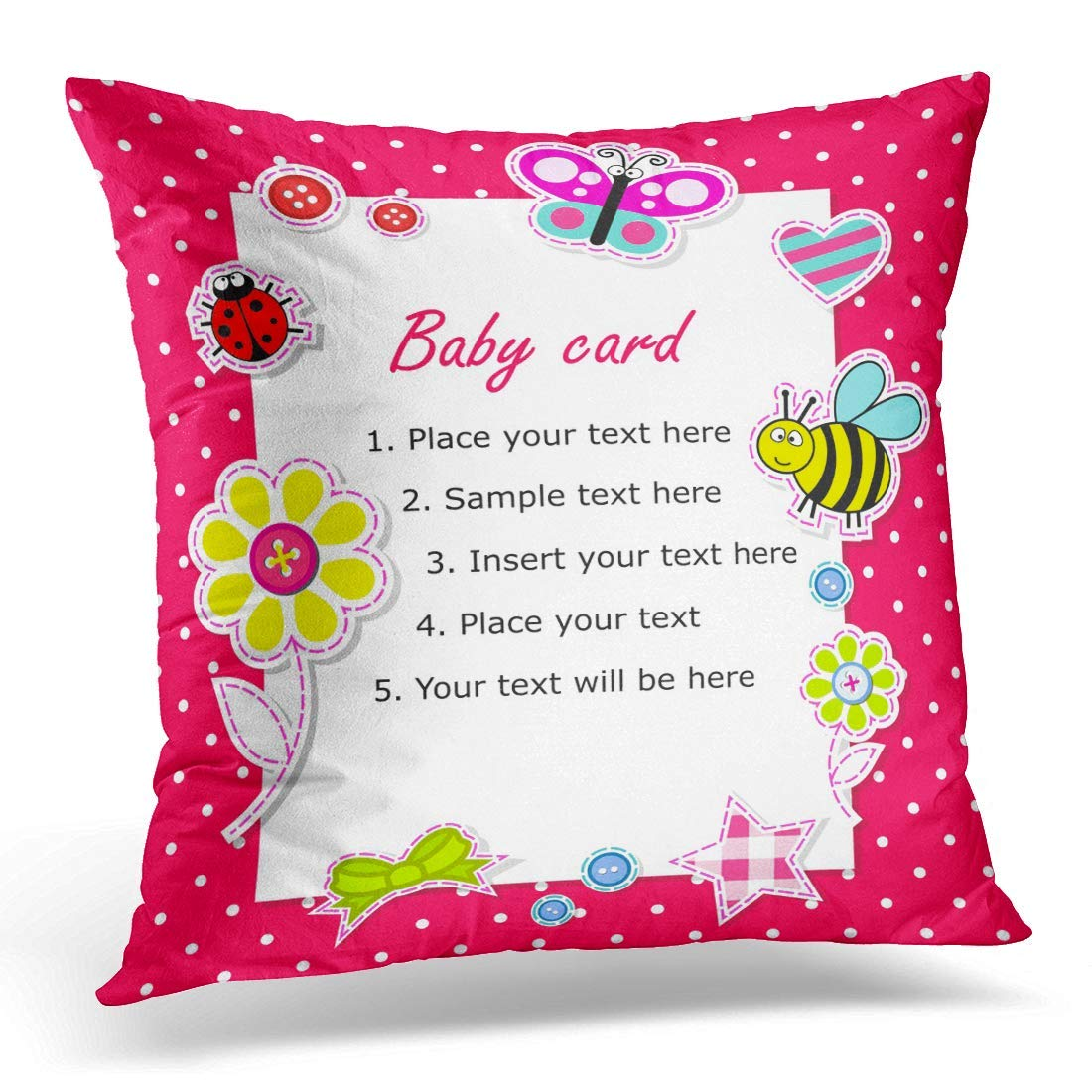 USART Beige Kid Baby Girl with Blue Birthday Pillow Case Pillow Cover 18x18 inch