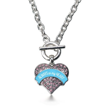 Always in my Heart Pregnancy & Infant Loss Support Pink Pave Heart Toggle - Pregnancy And Infant Loss Jewelry
