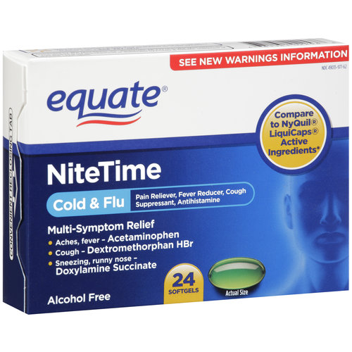 Equate NiteTime Cold & Flu Multi-Symptom Relief Softgels, 24 count