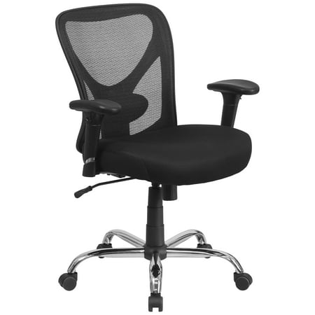 Flash Furniture HERCULES Series 400 lb Capacity Big and Tall Black Mesh Swivel Task Chair with Height Adjustable Back and Arms