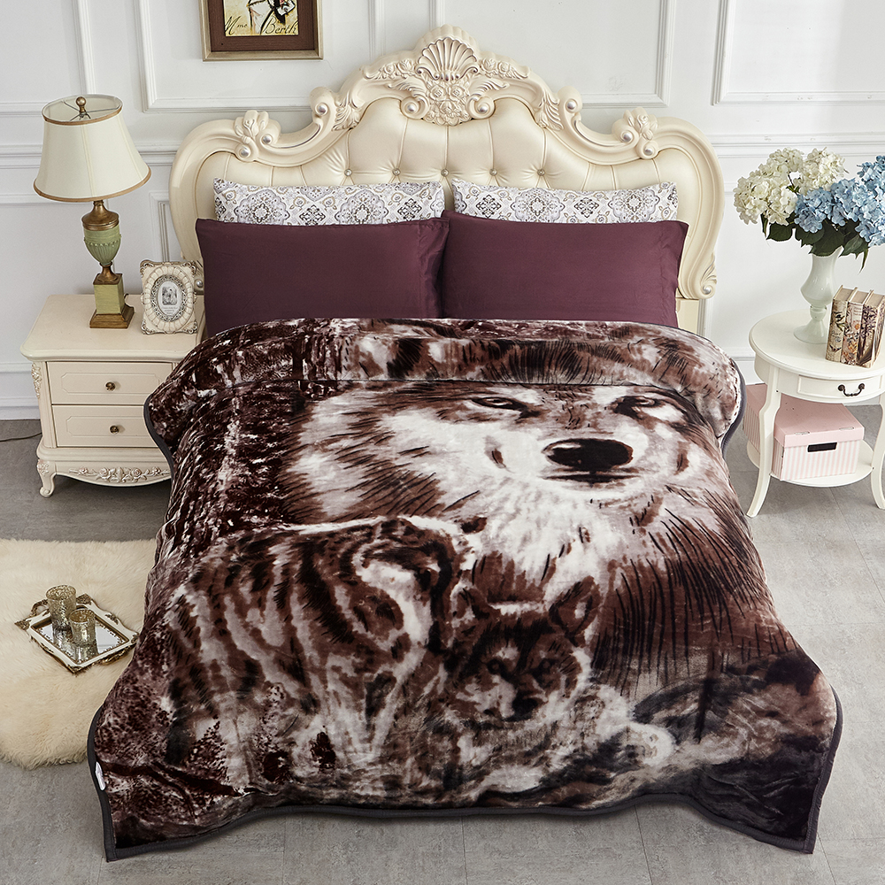 Soft Warm Plush Reversible Bed Blanket Coffee Amp Black Wolf