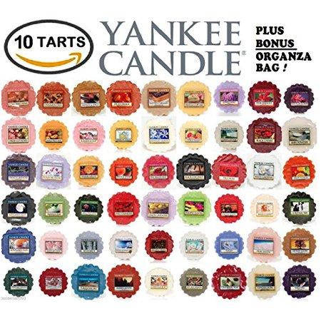 Yankee Candle Wax Tarts   Grab Bag Of 10 Assorted Yankee Candle Wax Melts   Random Mixed Scents With Bonus Yellow Organza Bag