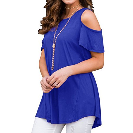 Plus Size Photoshoot Ideas (JustVH Women's Cold Shoulder Short Sleeve Casual Tunic Tops Loose Blouse)