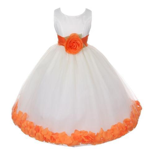 My Best Kids Big Girls Ivory Orange Floral Petals Organza Sash Junior Bridesmaid Dress 12