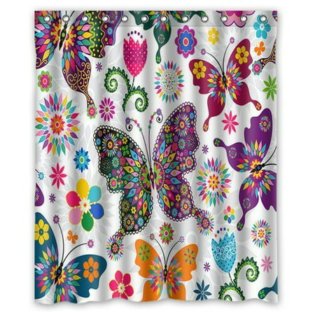 GreenDecor Butterfly Waterproof Shower Curtain Set with Hooks Bathroom Accessories Size 60x72 inches ()
