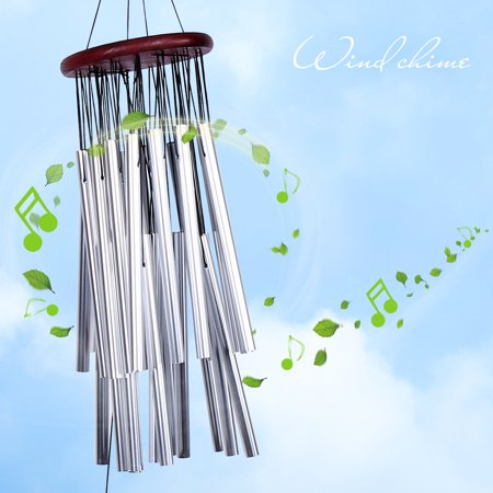 EECOO Large Wind Chime 27 Tubes Silver Metal Tube Church Home Garden Hanging Decorations Outdoor Bells Windchime Bells