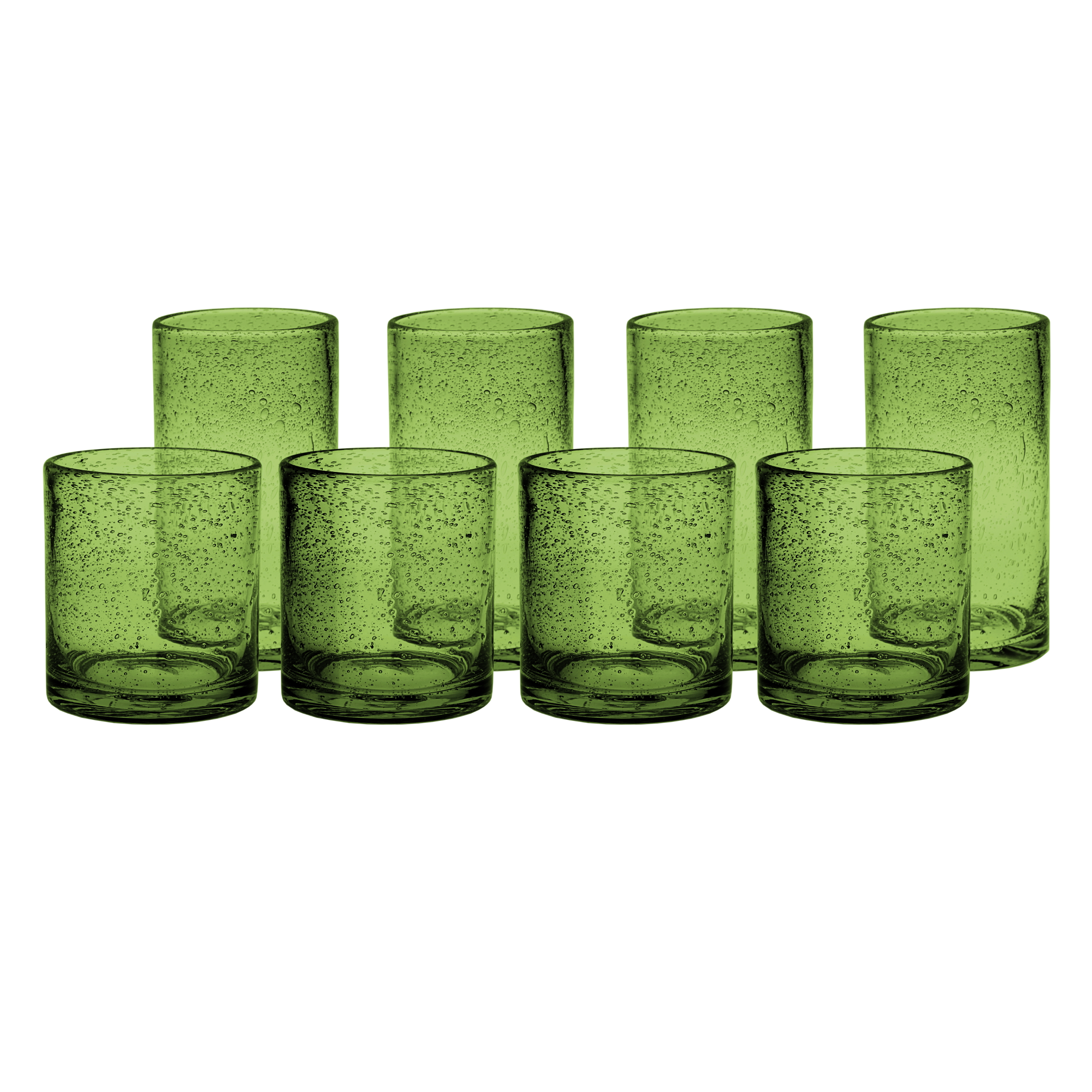 Artland Iris Sage Seeded 8 Piece Double Old Fashioned Glass and Highball Tumbler Set