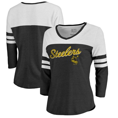 af6b404a1003 Pittsburgh Steelers NFL Pro Line by Fanatics Branded Women s Timeless  Collection Rising Script Color Block 3 4 Sleeve Tri-Blend T-Shirt - Black -  Walmart. ...
