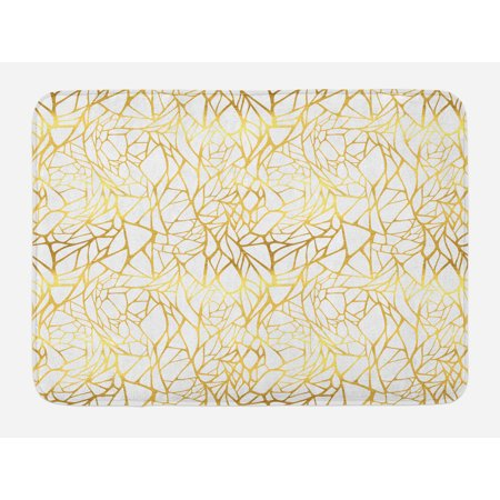Contemporary Bath Mat, Abstract Ornament Exotic Animal Pattern Style Feminine Glamor Print, Non-Slip Plush Mat Bathroom Kitchen Laundry Room Decor, 29.5 X 17.5 Inches, Gold Yellow and White, Ambesonne