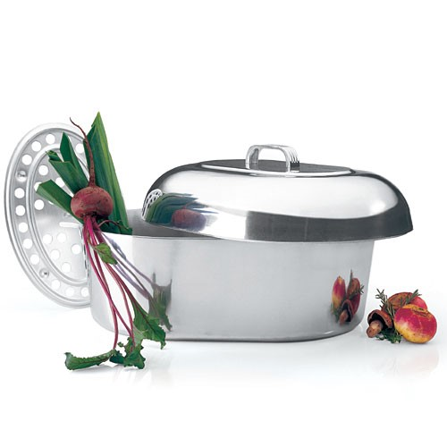 Magnalite Baking & Roasting Dishes Classic 18 in. Oval Non-Stick Cast Aluminum Roaster White