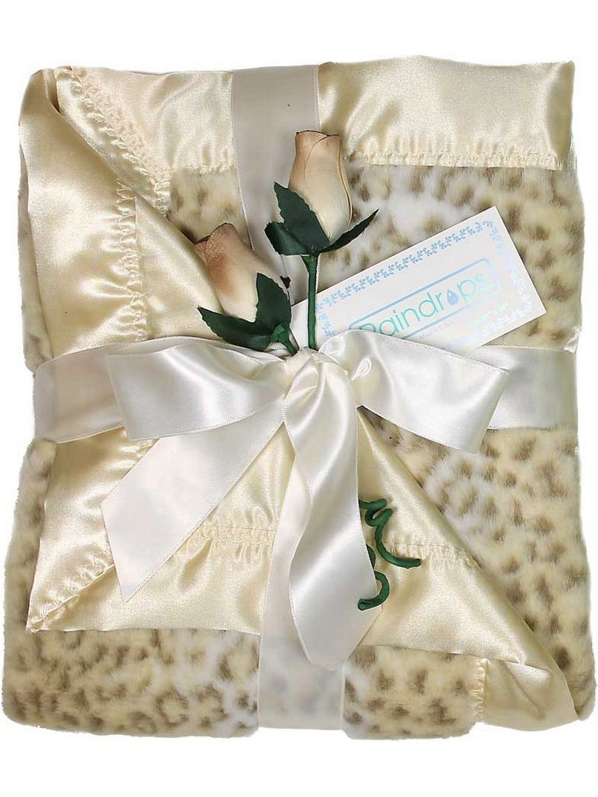"Raindrops Unisex Baby Faux Fur Receiving Blanket, Ivory, 28"" X 36"" by Raindrops"