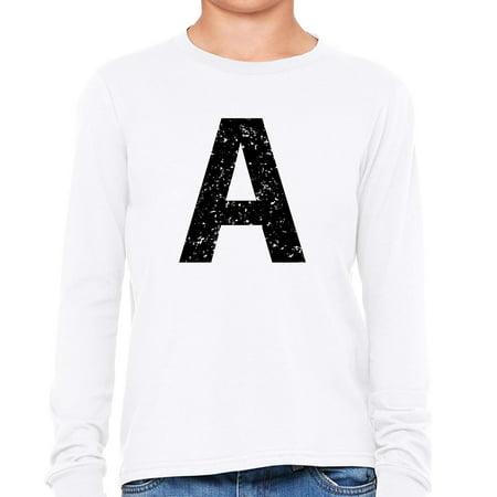 Monogram - A - Letter in Stately Black Girl's Long Sleeve - Monogrammed Kids Clothing