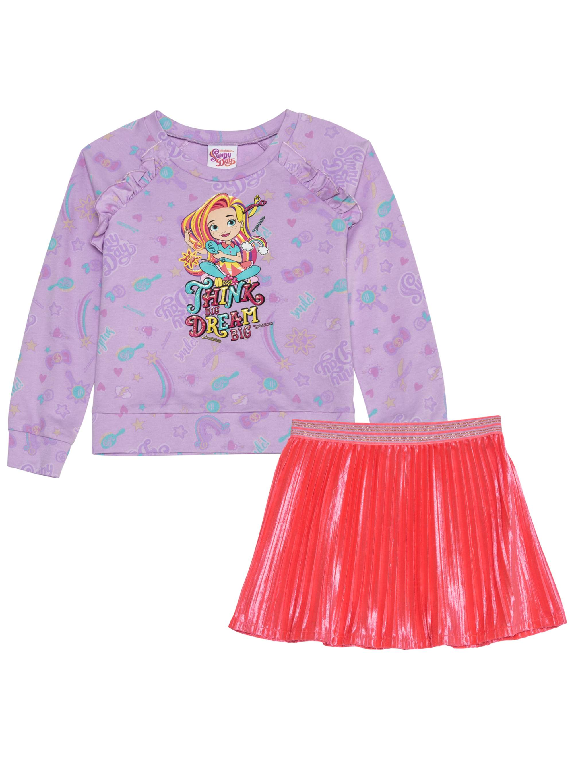 Graphic Sweatshirt and Pleated Skirt, 2-Piece Outfit Set (Little Girls & Big Girls)